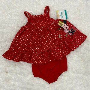 Disney baby red gold Minnie Mouse Dress NEW 0/3M